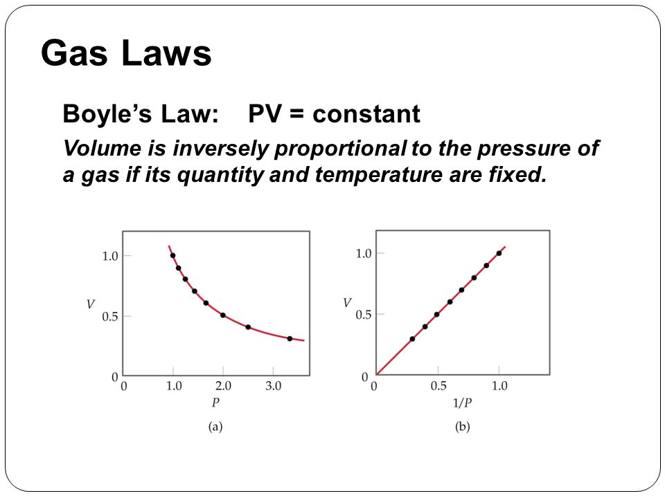 Gas Laws Boyle's Law: PV = constant