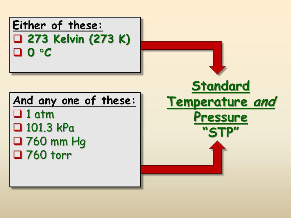 Standard Temperature and Pressure STP