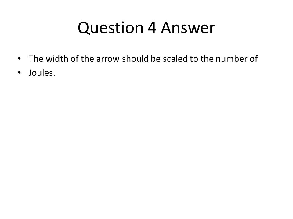 Question 4 Answer The width of the arrow should be scaled to the number of Joules.