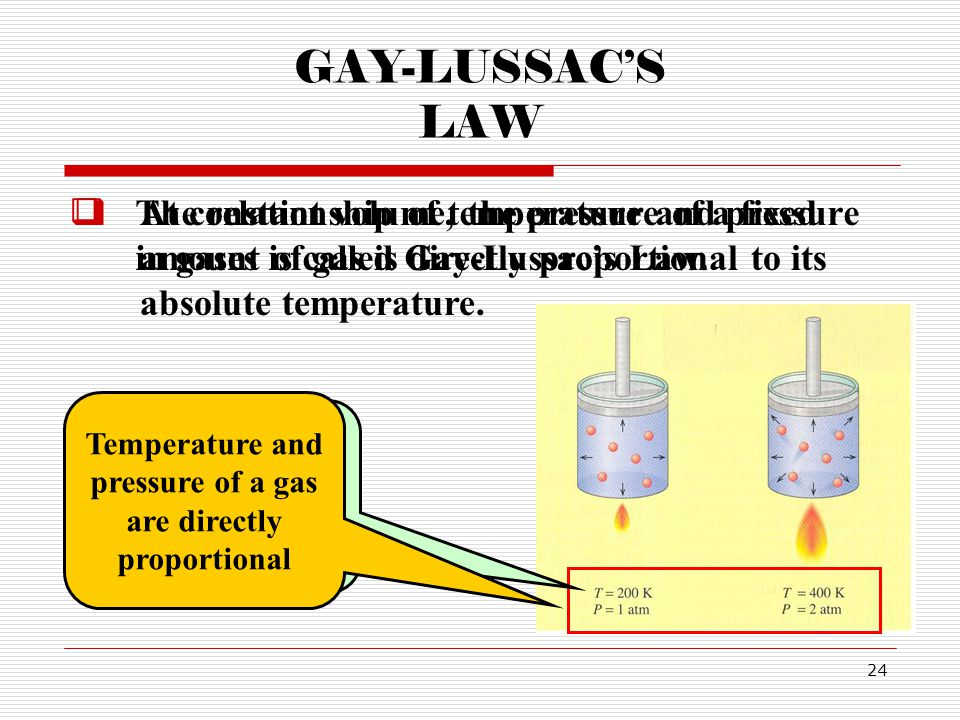 GAY-LUSSAC'S LAW The relationship of temperature and pressure in gases is called Gay-Lussac's Law.