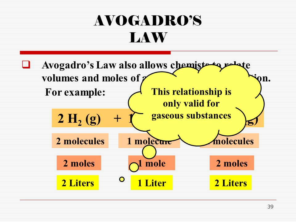 This relationship is only valid for gaseous substances