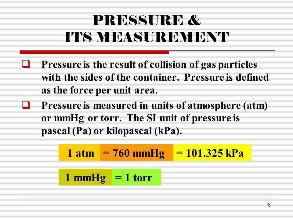 PRESSURE & ITS MEASUREMENT