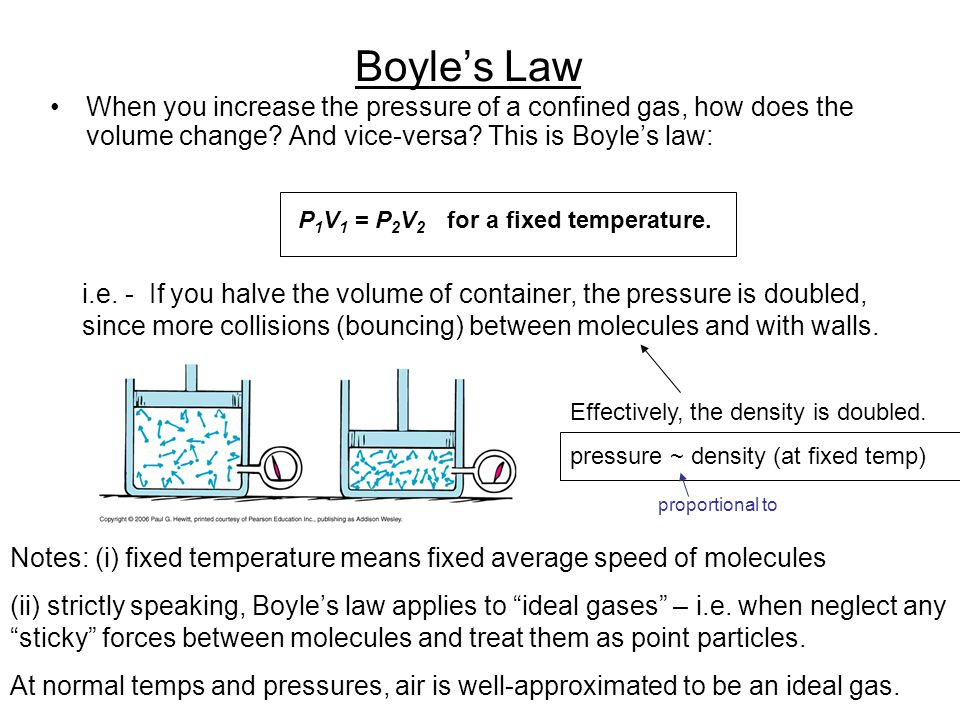 Boyle's Law When you increase the pressure of a confined gas, how does the volume change And vice-versa This is Boyle's law:
