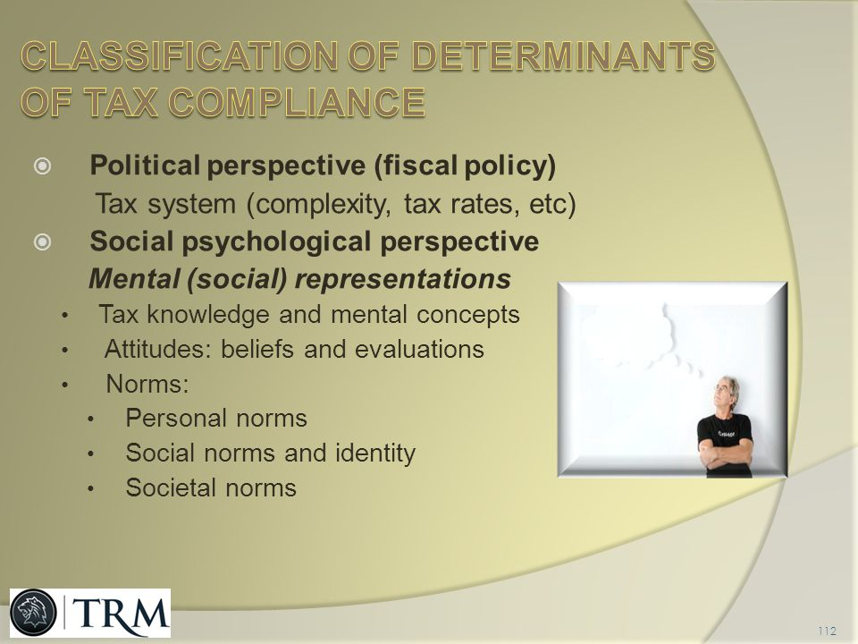 Classification of determinants of tax compliance