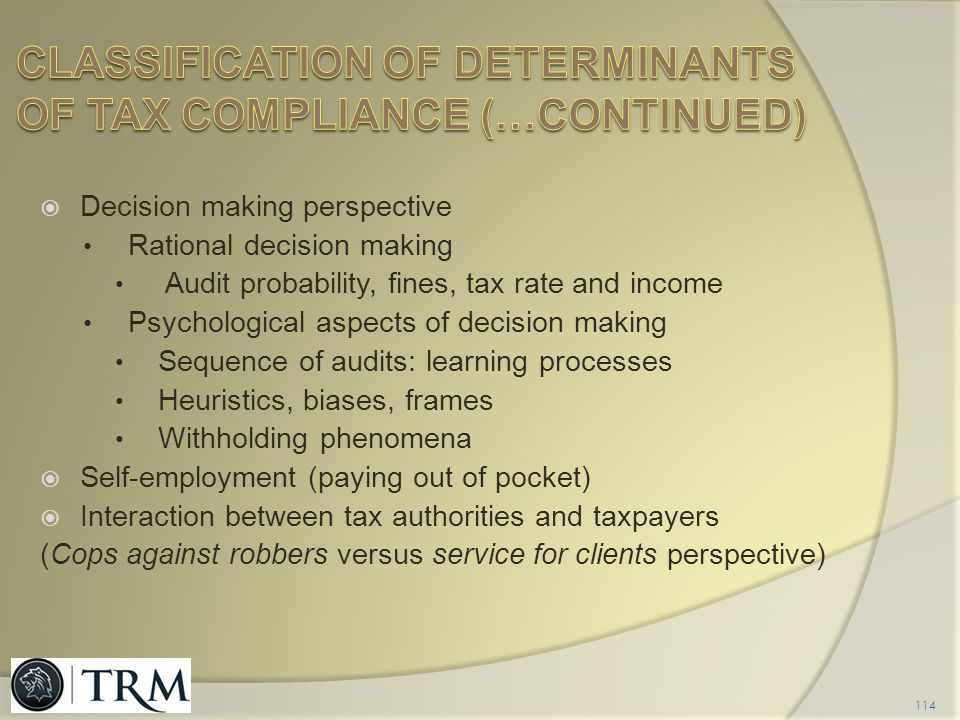 Classification of determinants of tax compliance (…CONTINUED)