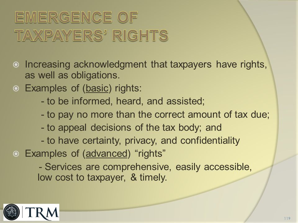 Emergence of taxpayers' rights