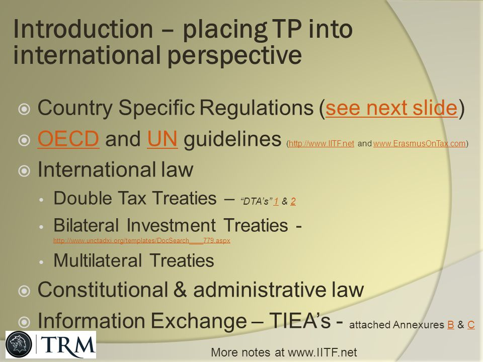 Introduction – placing TP into international perspective