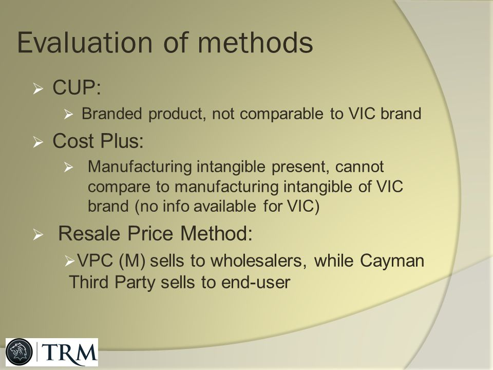 Evaluation of methods CUP: Cost Plus: Resale Price Method: