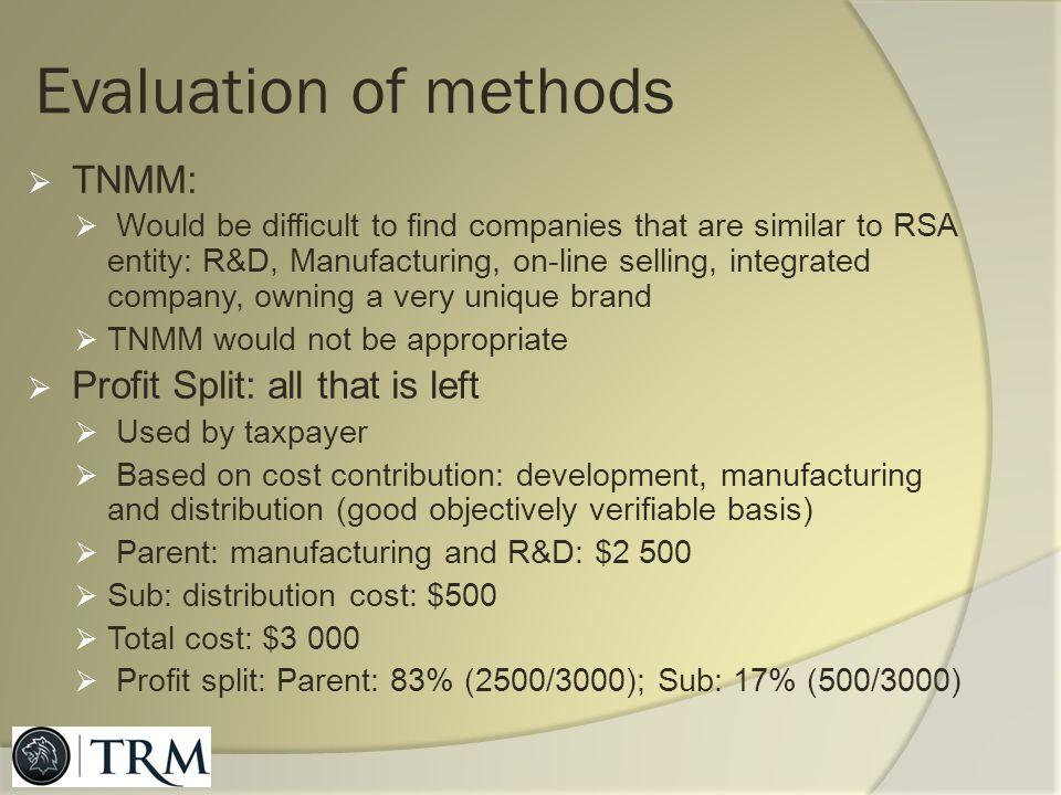 Evaluation of methods TNMM: Profit Split: all that is left