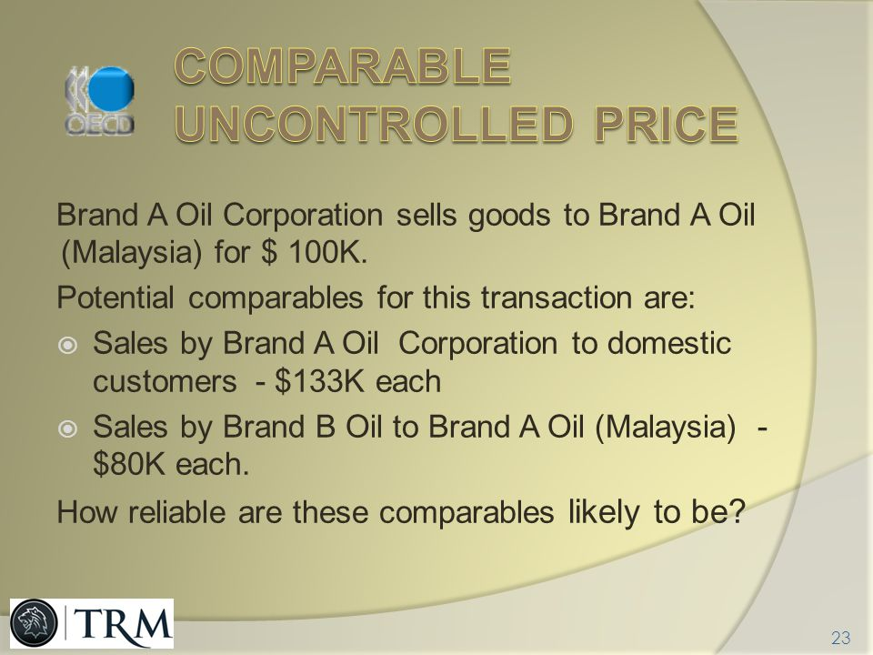 Comparable uncontrolled price