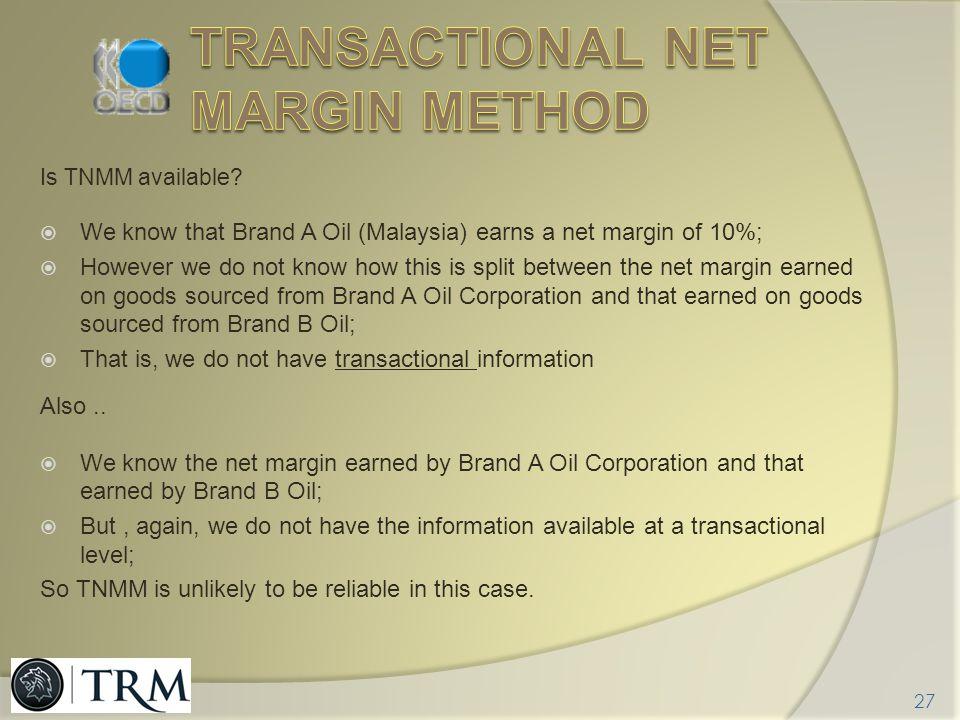 Transactional net margin method