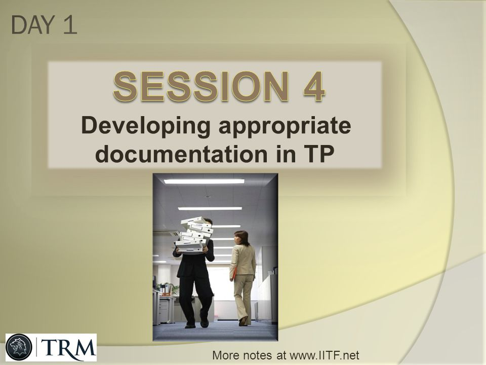 Developing appropriate documentation in TP