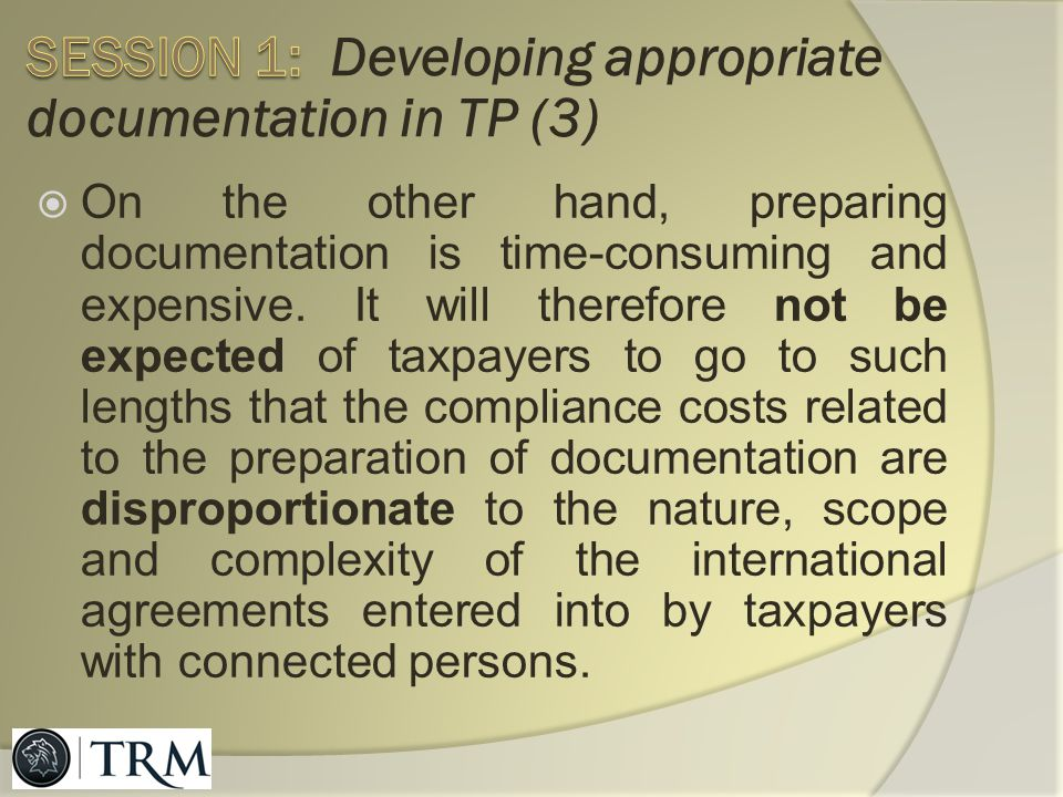 Session 1: Developing appropriate documentation in TP (3)