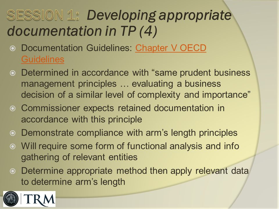 Session 1: Developing appropriate documentation in TP (4)