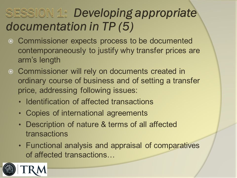 Session 1: Developing appropriate documentation in TP (5)
