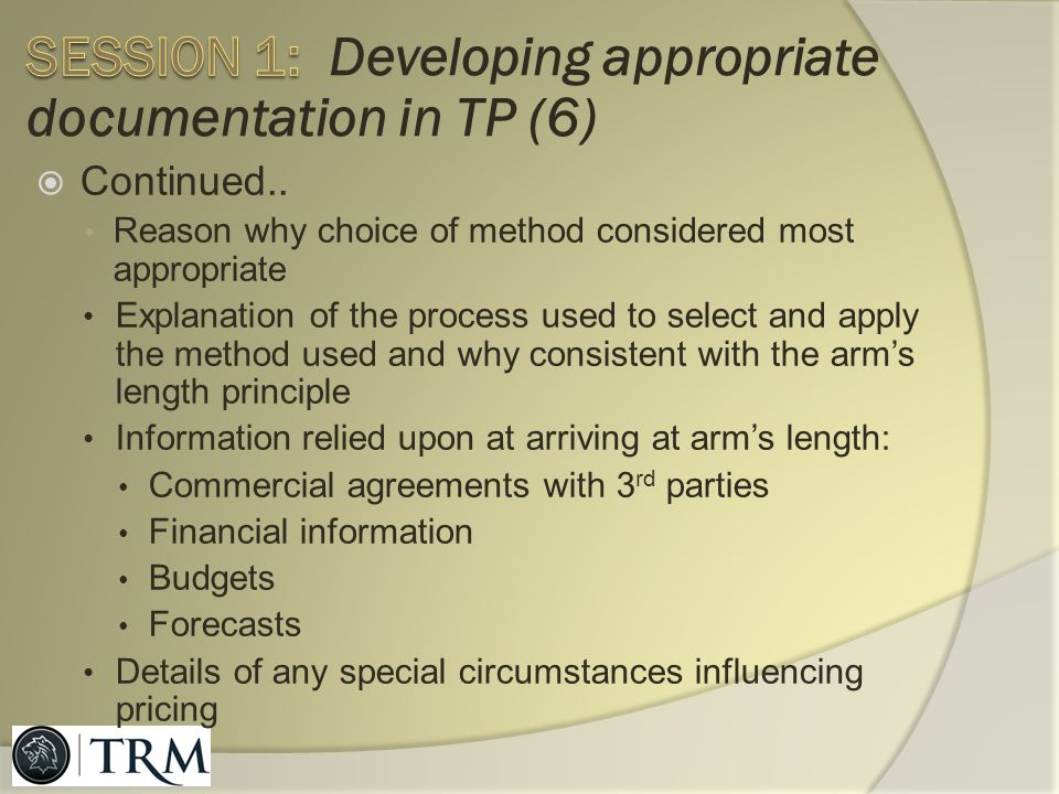 Session 1: Developing appropriate documentation in TP (6)