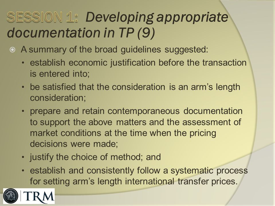 Session 1: Developing appropriate documentation in TP (9)