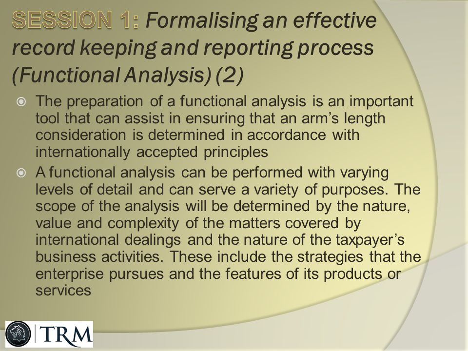 SESSION 1: Formalising an effective record keeping and reporting process (Functional Analysis) (2)
