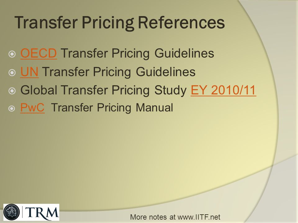 Transfer Pricing References