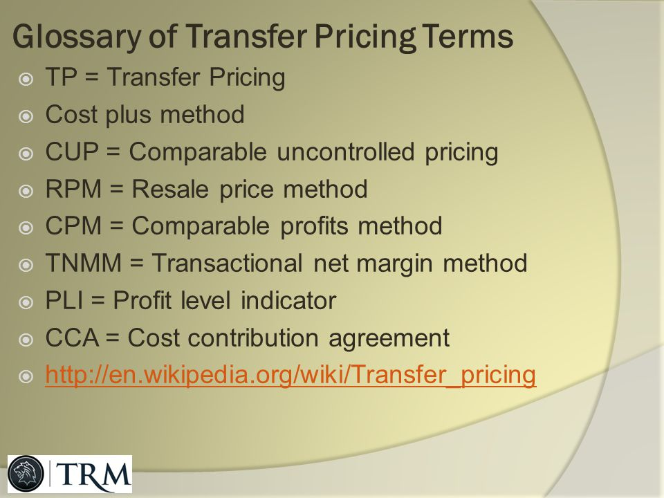 Glossary of Transfer Pricing Terms