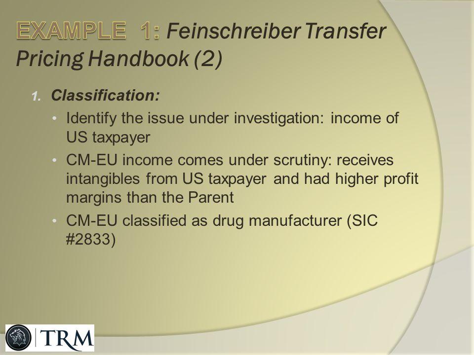 EXAMPLE 1: Feinschreiber Transfer Pricing Handbook (2)