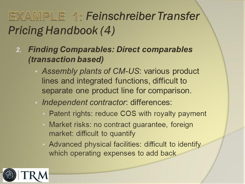EXAMPLE 1: Feinschreiber Transfer Pricing Handbook (4)