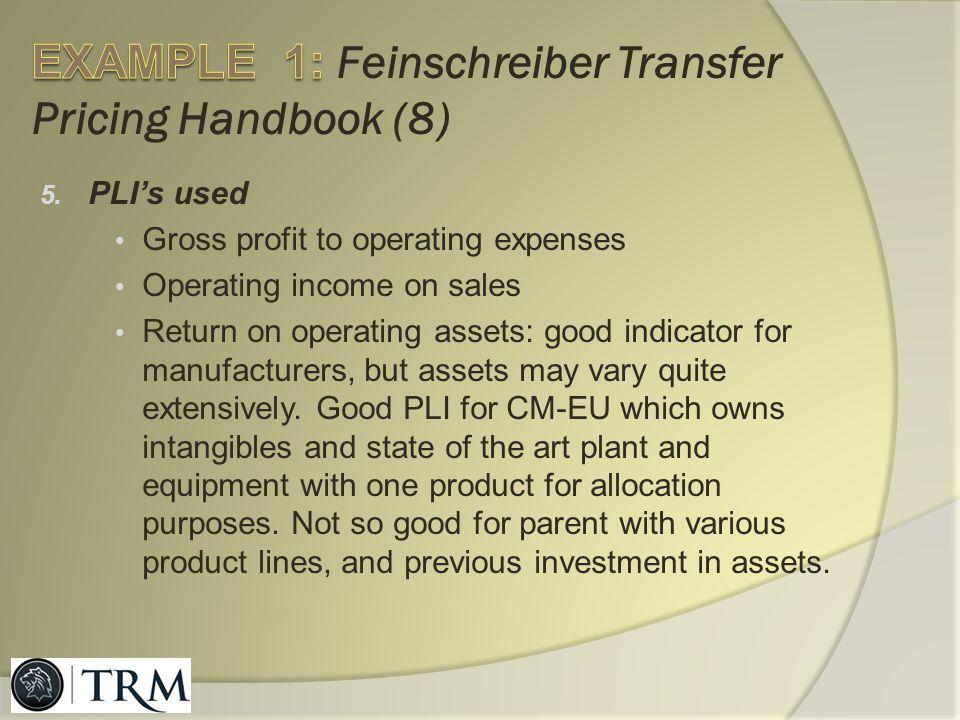 EXAMPLE 1: Feinschreiber Transfer Pricing Handbook (8)