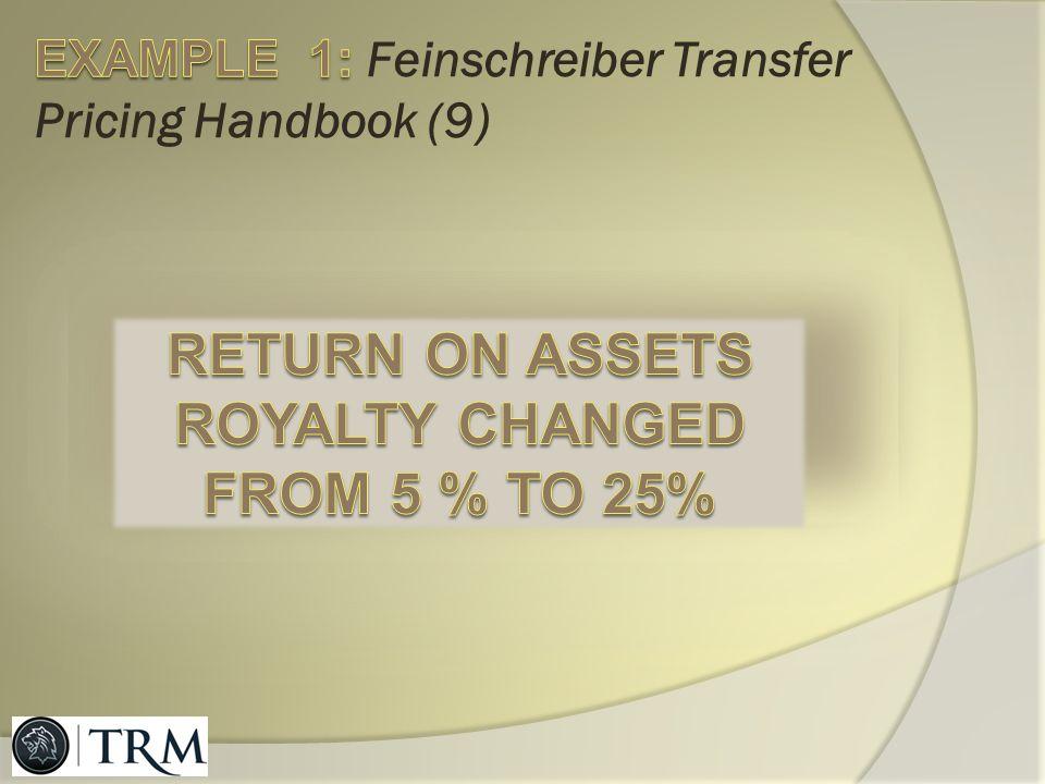EXAMPLE 1: Feinschreiber Transfer Pricing Handbook (9)