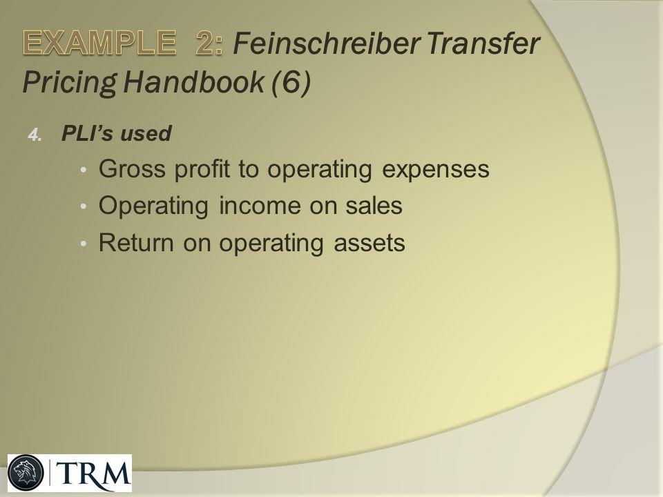 EXAMPLE 2: Feinschreiber Transfer Pricing Handbook (6)
