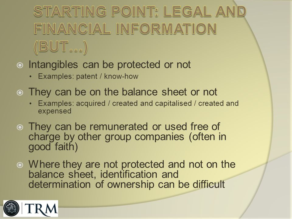 Starting point: legal and financial information (but…)
