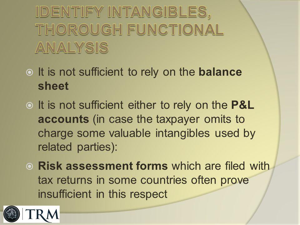 Identify intangibles, thorough functional analysis