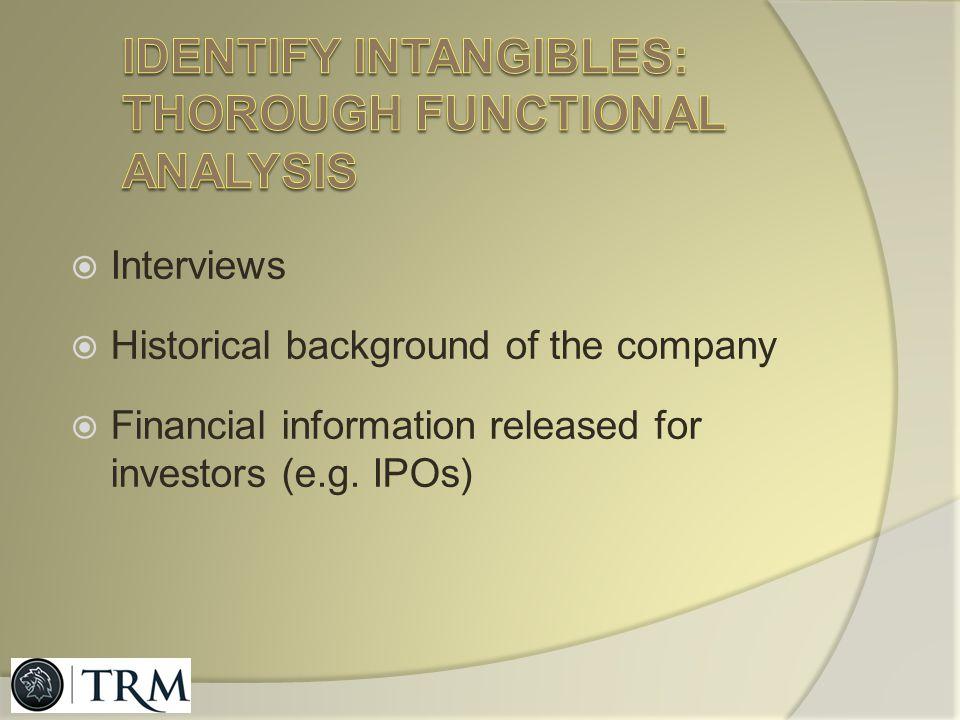 Identify intangibles: thorough functional analysis
