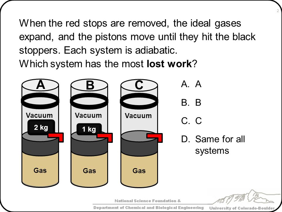 When the red stops are removed, the ideal gases expand, and the pistons move until they hit the black stoppers. Each system is adiabatic.