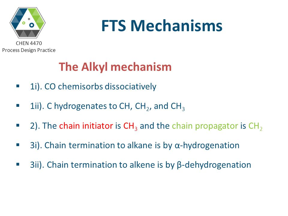 FTS Mechanisms The Alkyl mechanism 1i). CO chemisorbs dissociatively