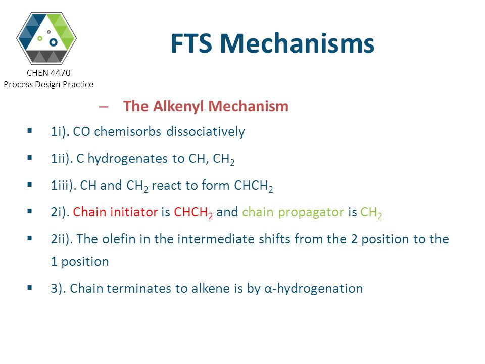 FTS Mechanisms The Alkenyl Mechanism 1i). CO chemisorbs dissociatively
