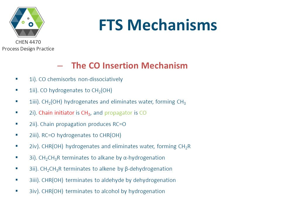 FTS Mechanisms The CO Insertion Mechanism