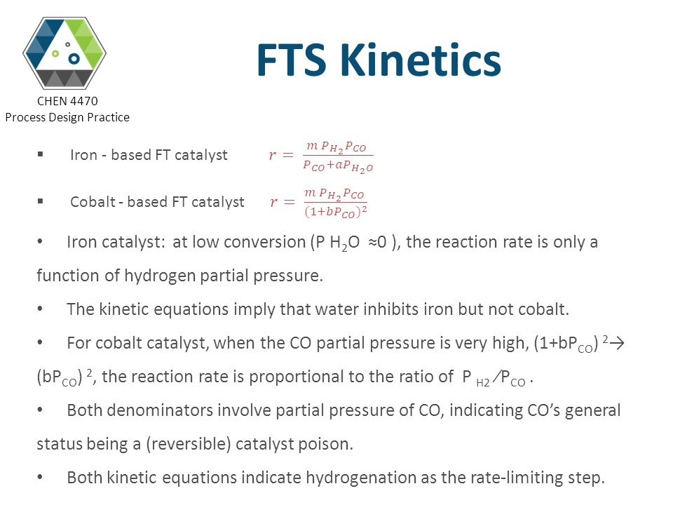 FTS Kinetics Iron - based FT catalyst 𝑟= 𝑚 𝑃 𝐻 2 𝑃 𝐶𝑂 𝑃 𝐶𝑂 +𝑎 𝑃 𝐻 2 𝑂.