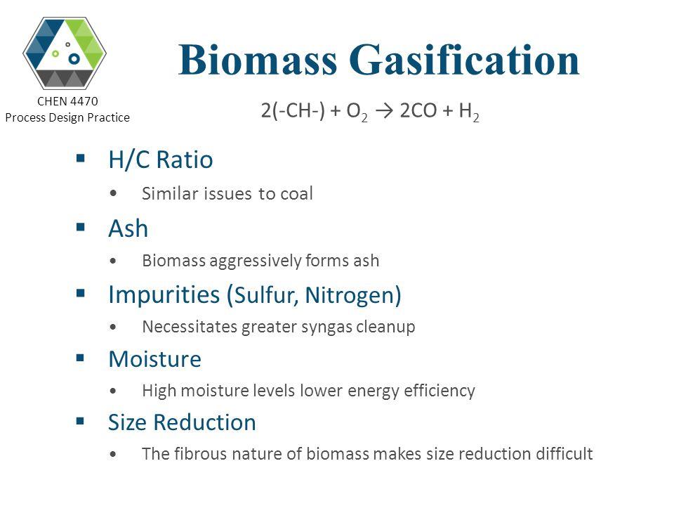 Biomass Gasification H/C Ratio Ash Impurities (Sulfur, Nitrogen)