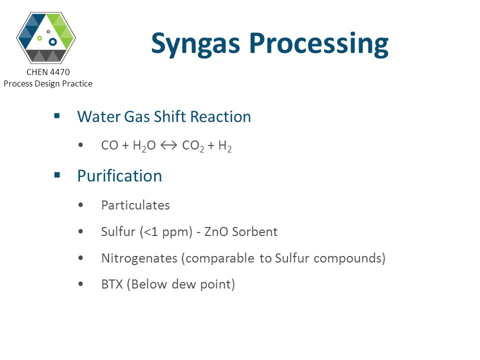 Syngas Processing Purification Water Gas Shift Reaction