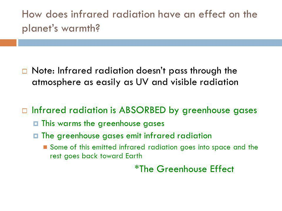 How does infrared radiation have an effect on the planet's warmth