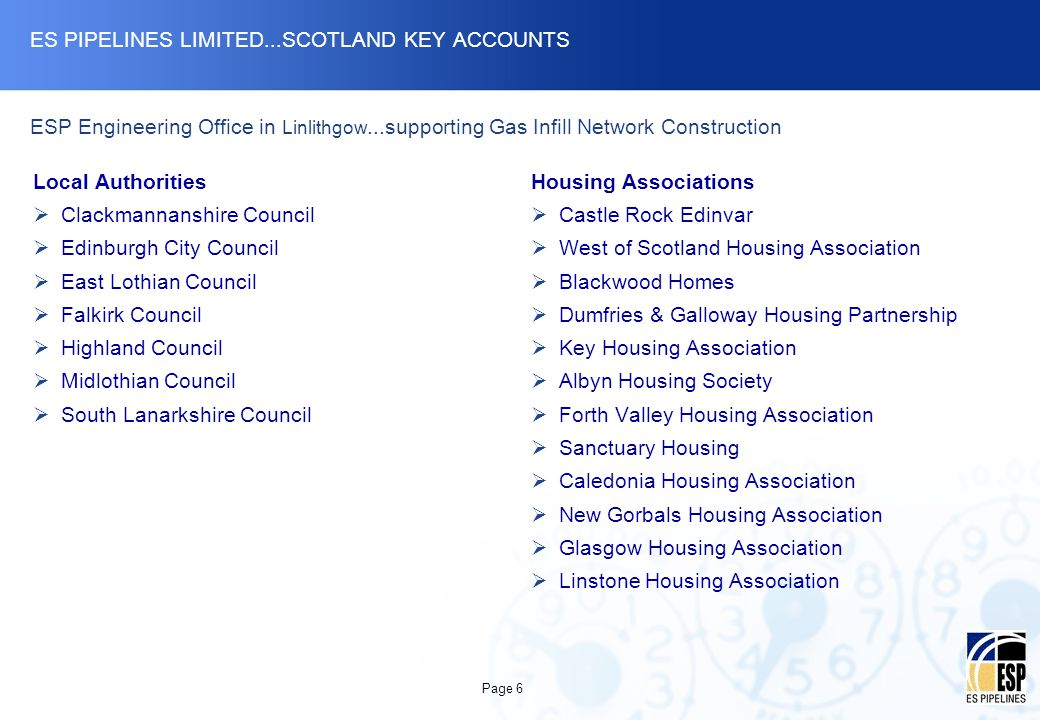 ES PIPELINES LIMITED...SCOTLAND KEY ACCOUNTS