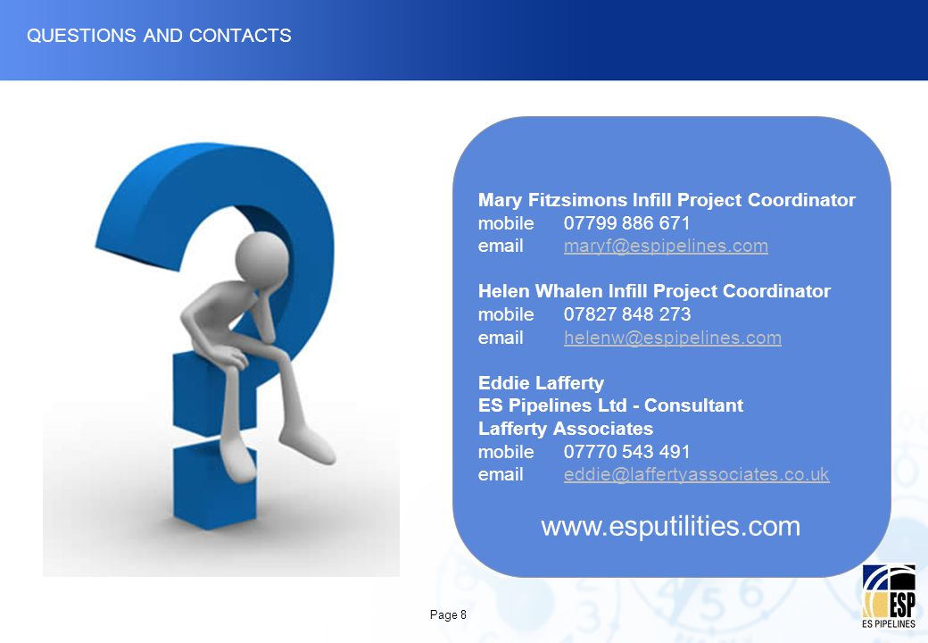 QUESTIONS AND CONTACTS