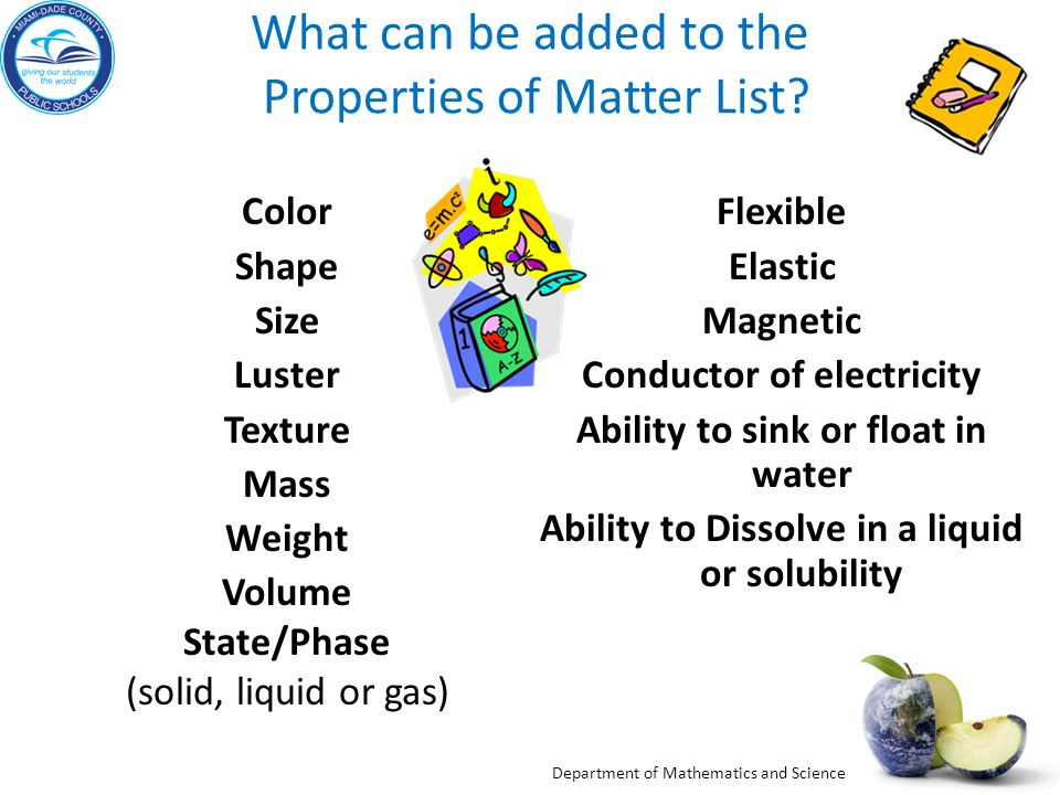 What can be added to the Properties of Matter List