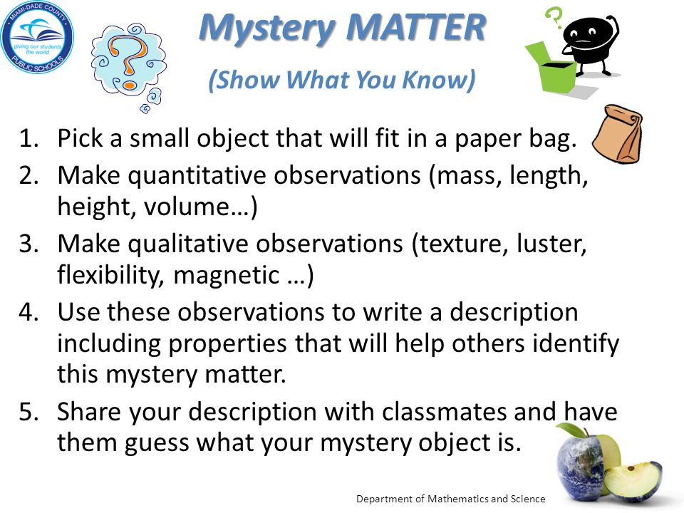 Mystery MATTER (Show What You Know)