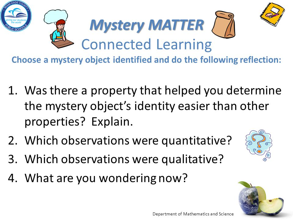 Mystery MATTER Connected Learning Choose a mystery object identified and do the following reflection: