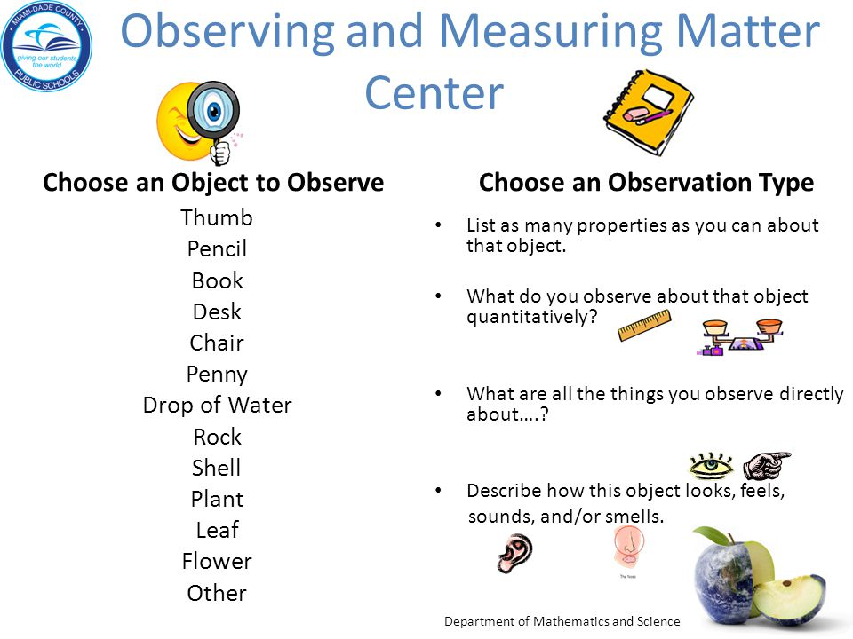 Observing and Measuring Matter Center