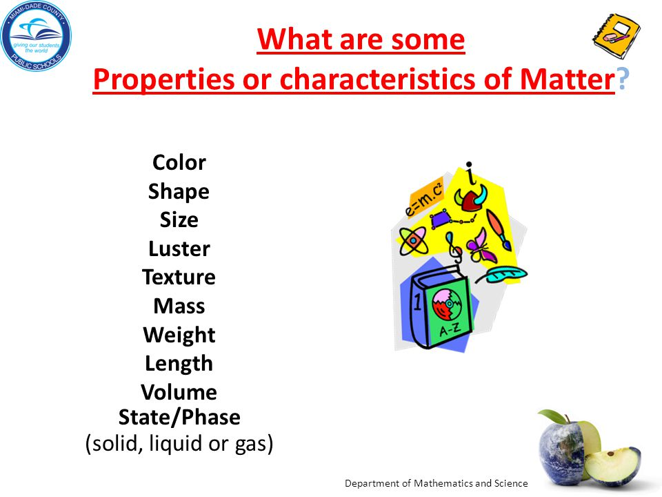 What are some Properties or characteristics of Matter