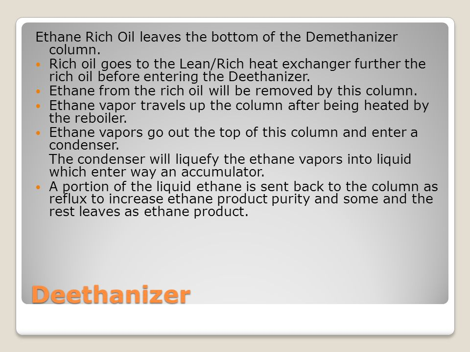 Ethane Rich Oil leaves the bottom of the Demethanizer column.