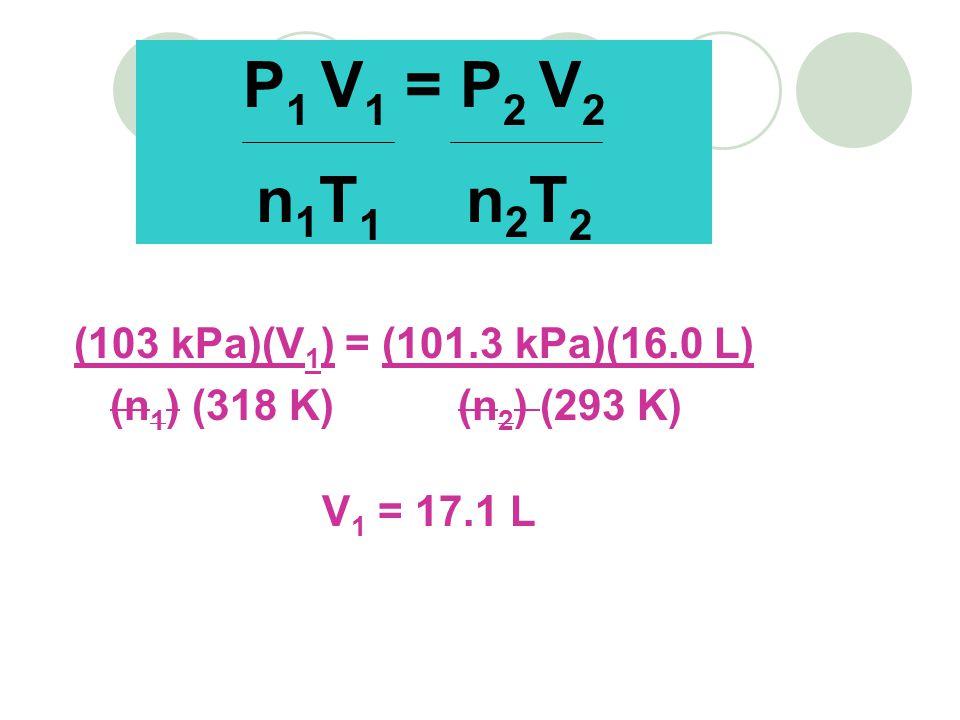 P1 V1 = P2 V2 n1T1 n2T2 (103 kPa)(V1) = (101.3 kPa)(16.0 L)