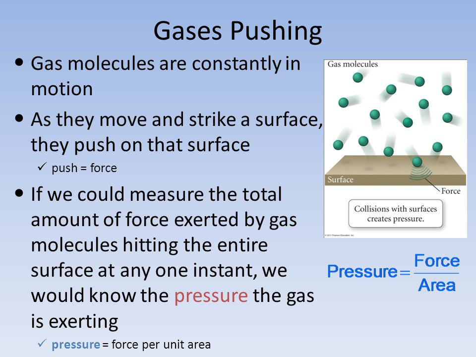 Gases Pushing Gas molecules are constantly in motion